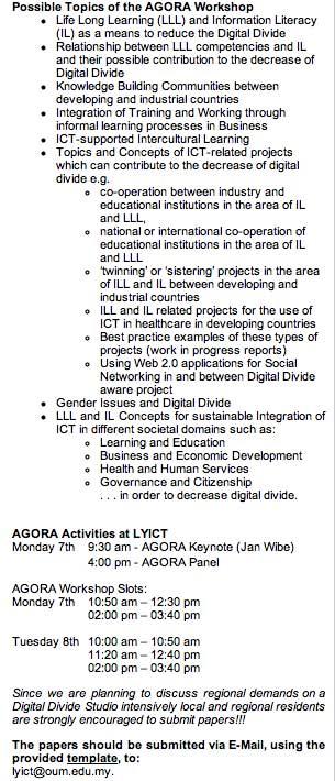 AGORA workshop inside LYICT 2008 - Ifip-tc3